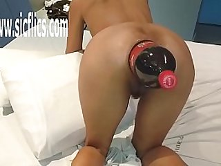 Extreme amateur Latina fucked in her greedy gaping ass with a giant Cola bottle