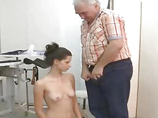 The old trusted doctor gets to fuck on his horny young female patents