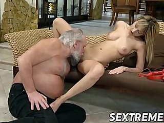 Gorgeous young blonde rides old ass dude