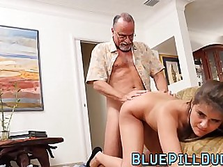 Curvy young slut smashed by old geezer