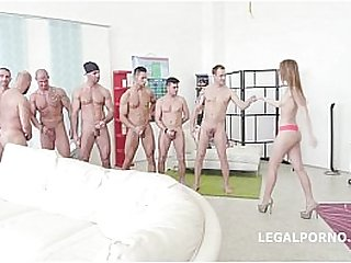 Kira Thorn first 7on1 Double Anal GangBang - Acrobatic Sex - 7 Facials