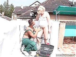 Old granny fucking with dark young stud