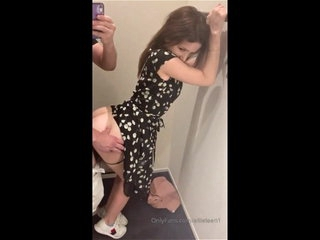 Slut teen gets fucked from behind in fitting room