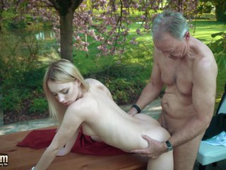 Young blonde fucking old man she swallows his cumshot
