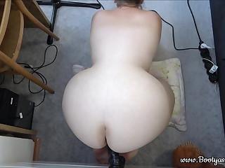 BBW phat ass white girl fucks with big black dildo in doggy