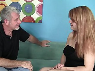 Hot Redhead Young Babysitter applies for the job and takes the big cock