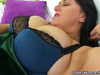 Big boobed mature Lulu Lush masturbates in stockings with suspenders (now available in Full HD 1080P). Bonus video: English milf Sabrina.