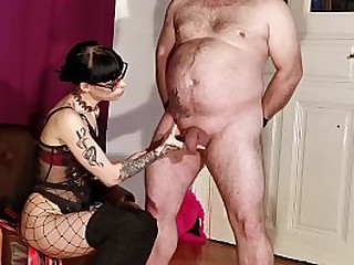 Slim gothic Mistress cbt t. her old fat slave pt2 HD